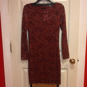 Burnt Orange Long Sleeve Lace Dress